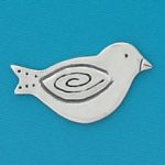 Small coin or token handcrafted in lead free pewter is engraved, shaped like a bird or Bluebird of Happiness with inspiration message on back.