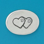 Small coin or token handcrafted in lead free pewter is engraved with two entwined valentine hearts and inspiration message on back.
