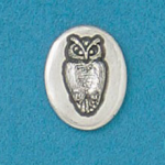 Small coin or token handcrafted in lead free pewter is engraved with wise owl image and inspiration message on back.