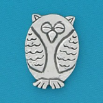 Small coin or token handcrafted in lead free pewter is engraved, shaped like an owl with inspiration message on back.
