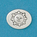 Small coin or token handcrafted in lead free pewter is engraved with Sun image and inspiration message on back.