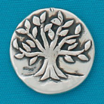 Small coin or token handcrafted in lead free pewter is engraved with tree of life image with inspiration message on back.