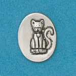 Small coin or token handcrafted in lead free pewter is engraved with cat image and inspiration message on back.