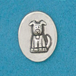 Coin handcrafted in lead free pewter ingraved with dog image and inspiration message on back.