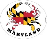 Maryland State Crab Decal in Oval. Crab-shaped Maryland State Flag.