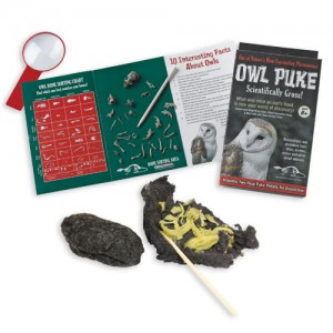 The Backyard Naturalist has Owl Puke! Dissect a sanitized pellet to reconstruct the Owl's meal... reassemble a real skeleton! Includes instructions, magnifying glass and a magnificent pellet of Owl puke!