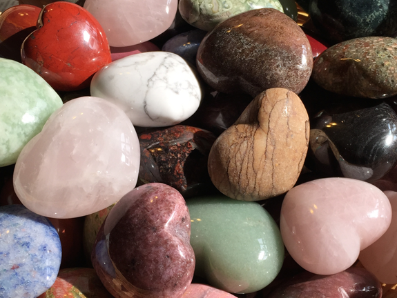 The Backyard Naturalists' Semi-Precious Stone Hearts include, turquoise, quartz, pink quartz, tiger eye, hematite, sodalite and many more. Each is unique.