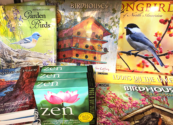 The Backyard Naturalist has 2019 calendars in stock. Audubon Society, National Geographic, The Sierra Club and many more.