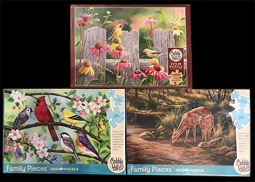 The Backyard Naturalist has a variety of new jigsaw puzzles, these pictured are 375-225 piece puzzles.