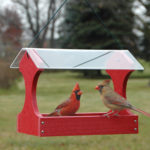 The Backyard Naturalist stocks Woodlink's Going Green Recycled Feeders that include Fly-Thru Hopper Feeders like this one, in Red.