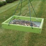 The Backyard Naturalist stocks Going Green Recycled Materials Feeders, like this Platform feeder in green.