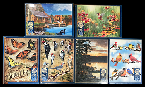 The Backyard Naturalist fresh shipment of 2020 puzzles, 500 piece puzzles pictured here.