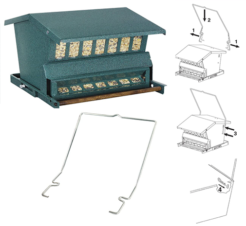 The Backyard Naturalist sells The Absolute Combo Squirrel Proof, Large Bird Resistant, weight-adjustable large capacity feeder. Includes hanger, pole and hardware.