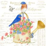 The Backyard Naturalist has Alice's Cottage new Spring 2021 Collection, including 'Bluebirds and Watering Can'.