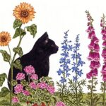 The Backyard Naturalist has Alice's Cottage new Spring 2021 Collection, including 'Cat in the Garden'