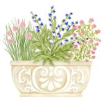 The Backyard Naturalist has Alice's Cottage new Spring 2021 Collection, including 'Flowers in Planter'