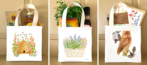 The Backyard Naturalist loves Alice's Cottage kitchen textiles. Illustrated, printed and sewn right here in Maryland. Large Gift Totes are featured in this image.
