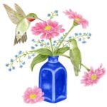 The Backyard Naturalist has Alice's Cottage new Spring 2021 Collection, including 'Hummingbird and Blue Vase'.
