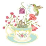 The Backyard Naturalist has Alice's Cottage new Spring 2021 Collection, including 'Hummingbird and Teacup'.