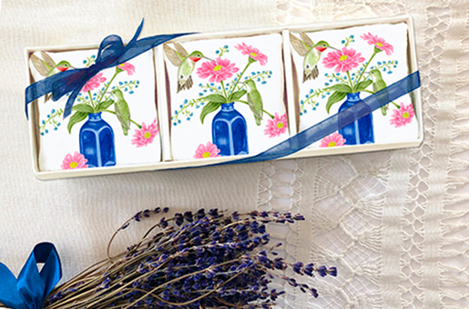 The Backyard Naturalist loves Alice's Cottage kitchen textiles. Illustrated, printed and sewn right here in Maryland. Lavender Sachet Gift Sets are featured in this image.