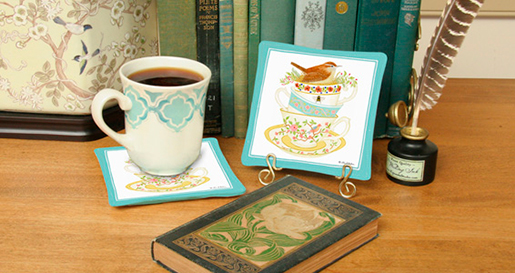 The Backyard Naturalist loves Alice's Cottage kitchen textiles. Illustrated, printed and sewn right here in Maryland. Spiced Mug Mats are featured in this image.