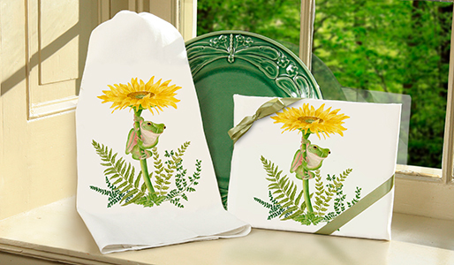 The Backyard Naturalist loves Alice's Cottage kitchen textiles. Illustrated, printed and sewn right here in Maryland. Flour Sack Tea Towel Sets are featured in this image.
