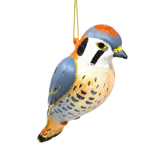 The Backyard Naturalist has Cobane Glass BIrd Holiday Ornament, American Kestrel.
