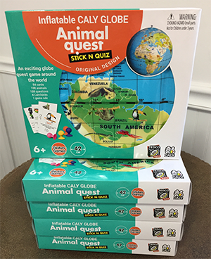 The Backyard Naturalist has nature-themed games for children, like Animal Quest (has inflatable globe!).