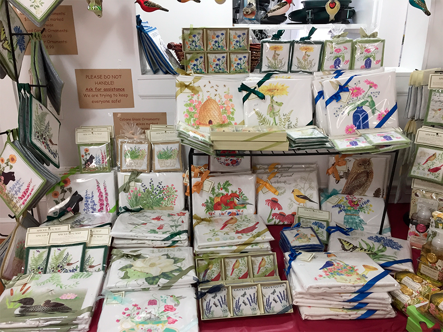 The Backyard Naturalist's safe shopping Annex with Alice's Cottage Kitchen Linens and Textiles display.
