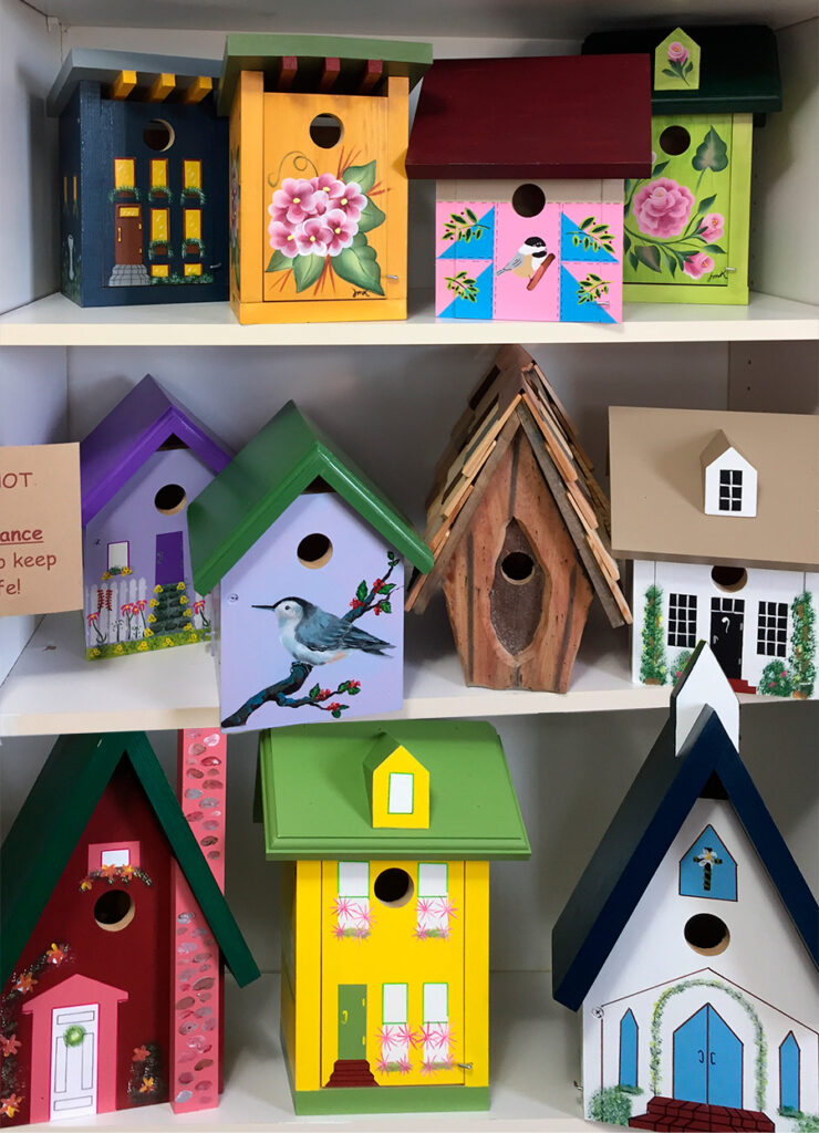 The Backyard Naturalist safe shopping Annex showcases our Hand Painted Bird Houses.