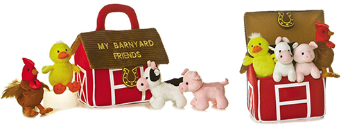 The Backyard Naturalist has 'Baby Talk' collection in stock. Plush animals and a plush 'home' . Soft and cuddly baby toys! This one is 'Barnyard Friends'.
