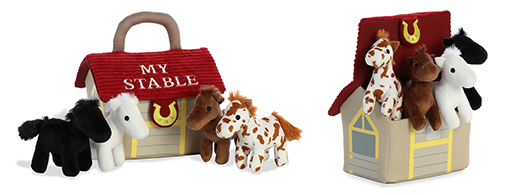 The Backyard Naturalist has 'Baby Talk' collection in stock. Plush animals and a plush 'home' . Soft and cuddly baby toys! This one is 'My Stable'.