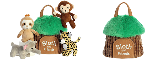 The Backyard Naturalist has 'Baby Talk' collection in stock. Plush animals and a plush 'home' . Soft and cuddly baby toys! This one is 'Sloth and Friends'.