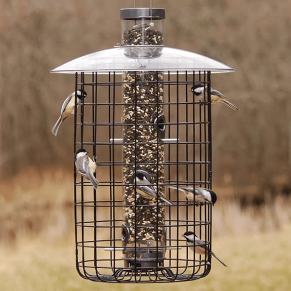 The Backyard Naturalist stocks the B7DC model of Droll Yankees Sunflower/Mixed Seed Domed Cage Feeders.