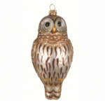 The Backyard Naturalist has Cobane Glass BIrd Holiday Ornament, Barred Owl