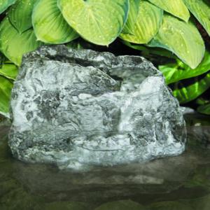 The Backyard Naturalist has waterfall rocks for garden ponds and bird baths, like the Stonecreek Waterfall Rock with hidden pump.