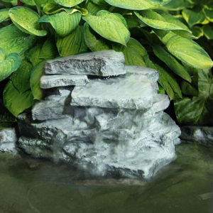 The Backyard Naturalist has waterfall rocks for garden ponds and bird baths, like the Layered or Stacked Rock Waterfall with hidden pump.