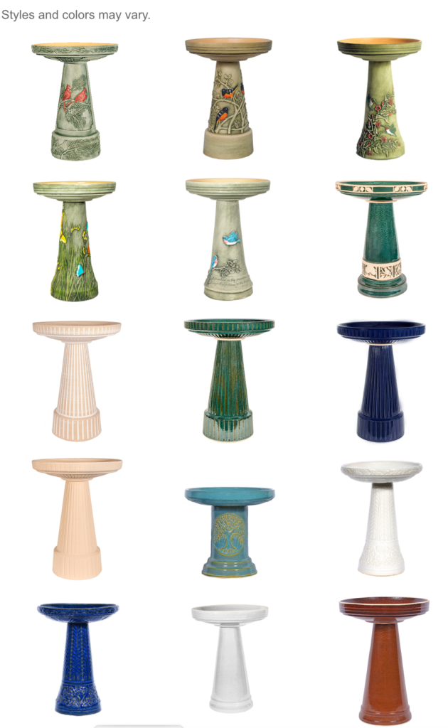 The Backyard Naturalist has a wide variety of bird baths. Styles, colors, materials and sizes of current stock may vary from those pictured.