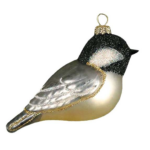 The Backyard Naturalist has Cobane Glass BIrd Holiday Ornament, Black-capped Chickadee