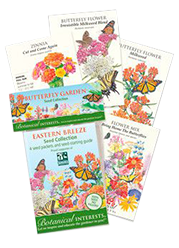 The Backyard Naturalist Butterfly Flower Garden Seeds for Eastern States. Organic seeds from Botanical Interests to attract bees, butterflies, hummingbirds and other wild birds to your backyard.