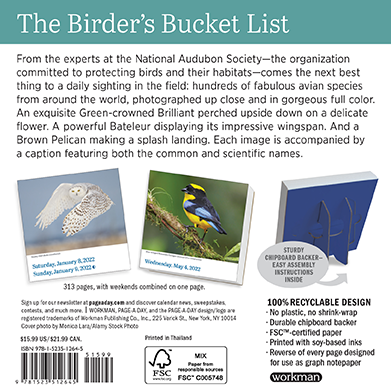 2022 Calendars are in stock at The Backyard Naturalist Store! Including the featured 'Audubon Page-A-Day Birds Calendar'.(back)