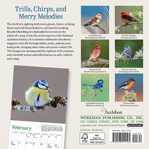 2022 Calendars are in stock at The Backyard Naturalist! Pictured, one of our favorites: Songbirds mini calendar by Audubon. (back)