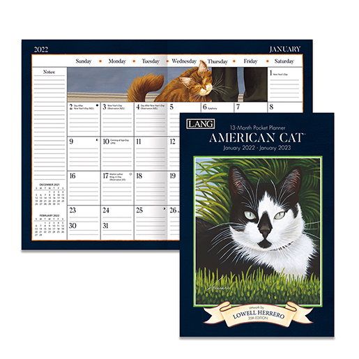 The Backyard Naturalist has the new 2022 Pocket Planner calendars in stock, including American Cat (inside pictured).
