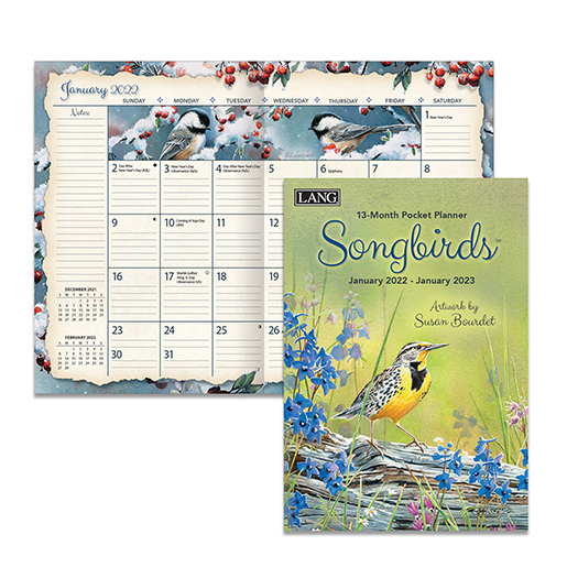 The Backyard Naturalist has the new 2022 Pocket Planner calendars in stock, including Songbirds (inside pictured).