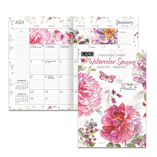The Backyard Naturalist has the new 2022 Pocket Planner calendars in stock, including 'Watercolor Seasons' (inside pictured).