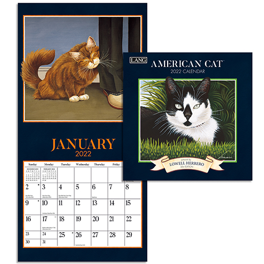 2022 Wall calendars are in at The Backyard Naturalist, including our favorite cat calendar: American Cat by Lang (inside).