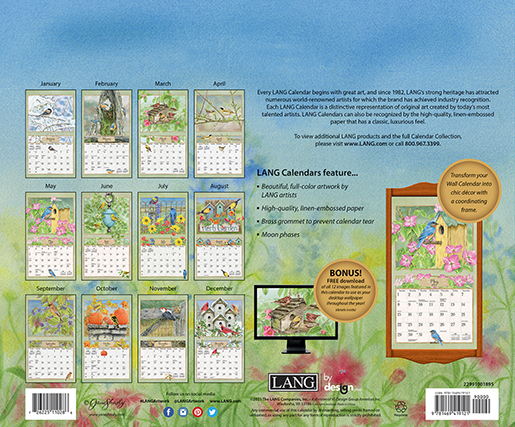 Beautifully illustrated 2022 wall calendar 'Birds in the Garden' is in stock at The Backyard Naturalist (back cover).