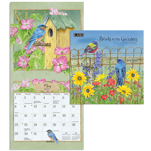 Beautifully illustrated 2022 wall calendar 'Birds in the Garden' is in stock at The Backyard Naturalist (inside view).