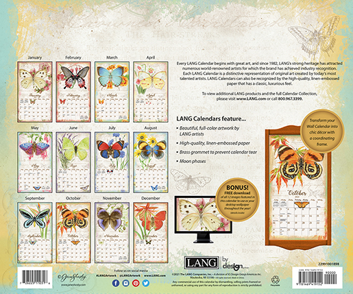 2022 Butterflies wall calendar is here at The Backyard Naturalist! (back)