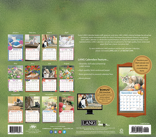 Lang's 2022 'Cats in the Country' wall calendar is here at The Backyard Naturalist! (back)